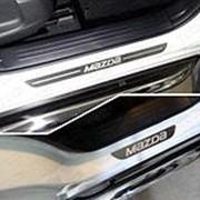 Накладки на пороги Mazda CX-5 2017-наст. время (лист шлифованный надпись MAZDA) фото