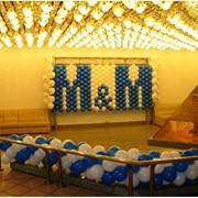 Панно из шариков, гирлянды, оформление залов фото