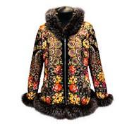 Куртка с мехом из павловопосадского платка фото