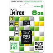 Карта памяти микро SDHC 8 Гб класс 10 - Mirex - с адаптером SD фото