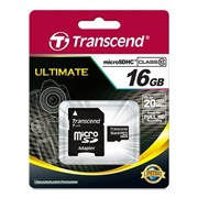 16Gb Transcend карта памяти microSDHC, Class 10, Адаптер SD фото
