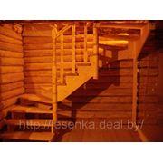 лестница в рубленном доме с поворотом на 180 градусов фото