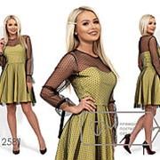 Комбинированное платье женское (4 цвета) - Желтый ЮГ/-02 фото