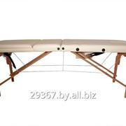Складной 3-х секционный деревянный массажный стол BodyFit, бежевый фото