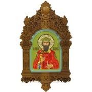 Рукописная икона Святой равноапостольный князь Владимир на кипарисе фото