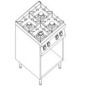 Плита газовая 4-х конфорочная с открытой базой Kogast PS-T47/P фото