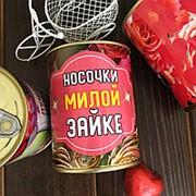 Носочки Милой Зайке в банке фото