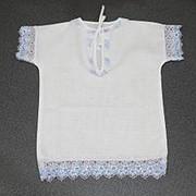 Рубашка крестильная с голубым кружевом 0014 фото