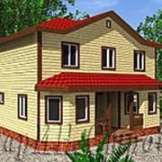 Шикарный двухэтажный брусовой дом с двумя эркерами и крыльцо 7 х 9, проект № 31 фото