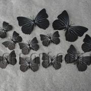 Бабочки пластиковые черные на магните/липучке 6-12 см 12 шт 7337 фото