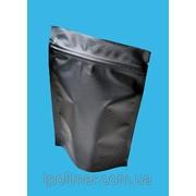 Пакеты Дой-пак 210х380 мм (черный матовый) для кофе, чая (Крафт+металл) фото