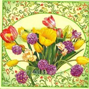Салфетка для декупажа Цветы-рустик зелёные фото