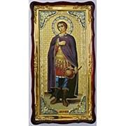 Икона Дмитрий Солунский, в фигурном киоте, с багетом большая Храмовая 61х112 фото