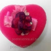 Коробка подарочная сердце ткань розовая фото