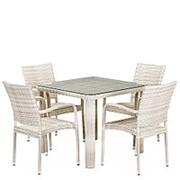 Комплект плетеной мебели T341A/Y376A-W85-90x90 4Pcs Latte фото