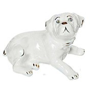Сувенир Собака Бульдог мини, глазурь белая фото