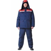 Куртка Профессионал длинная, зимняя тёмно-синяя с серым фото