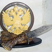 Статуэтка Герб России и охотничий нож 8273 22x20x9см фото