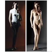 Манекен женский реалистичный телесный, с макияжем (парик отдельно), для одежды в полный рост, стоячий полубоком. MD-MAN-13 фото