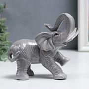 """Сувенир керамика """"Серый слон - хобот вверх"""" 12 см фото"""