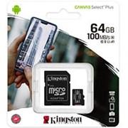 Карта памяти микро SDXC 64 Гб класс 10 UHS-I U1 Canvas Select PLUS - Kingston - с адаптером SD фото