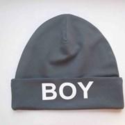 Шапка с надписью BOY (серенькая) фото