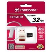 Карта памяти Transcend MicroSDHC 32GB (Class 10) + USB reader (TS32GUSDHC10-P3) фото