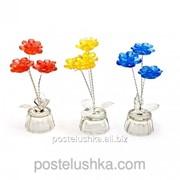 Цветок хрустальный 3 цветка 8117 10х4,5х4,5 см синий фото