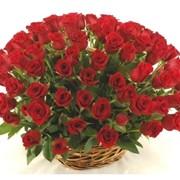 Цветочные корзины красные розы фото