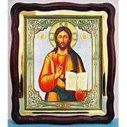 Икона Господь Вседержитель, в фигурном киоте, с багетом Храмовая 43х50 фото
