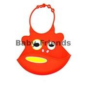 Слюнявчик пластиковый Зверушки (красный) фото