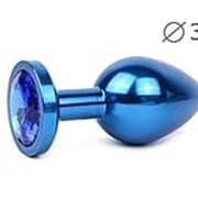 Коническая синяя анальная втулка с синим кристаллом - 8,2 см. фото