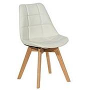 Стул FABIO, белый PU-кожа, деревянные ножки фото