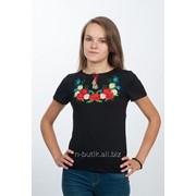 """Женская футболка с вышивкой """"Цветочный веночек"""", черная 52 фото"""