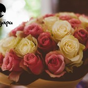 35 роз. Розово-белый микс фото