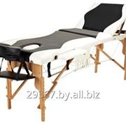 Складной 3-х секционный деревянный массажный стол BodyFit, черно-белый фото