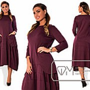 Платье женское марсала с карманами трапеция Новинка PY/-03 фото