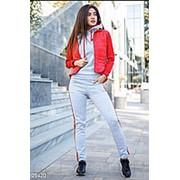 Утеплённый спортивный костюм серый с красной жилеткой АО/-0320 фото