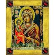Благовещенская икона Гребневская Богородица, копия старой иконы, печать на дереве, золоченая рамка, стразы Высота иконы 18 см Красные стразы фото