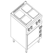 Плита электрическая 4-х конфорочная Kogast с с электрической духовкой на GN 2/1 ESK-T49/1 фото