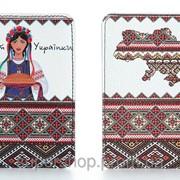 Кожаная обложка на паспорт Украинки 156-155350 фото