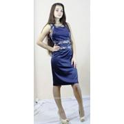 Синее атласное платье 4002 фото