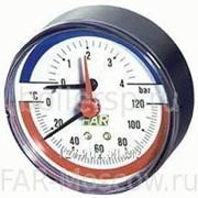 "Термоманометр 0-4 бар, 0-120°C, D=80 мм, торцевое соединение 1/2"", артикул FA 2550 12 фото"