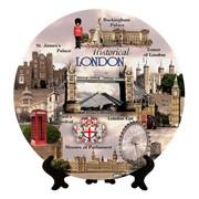 Сувенирная тарелка Англия-Исторический Лондон. Коллаж фото