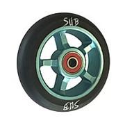 Колесо 00-180102 для ТРЮКОВОГО самоката, фрезерованное алюминевое, с подшипником ABEC9 100мм SUB сине-черное фото
