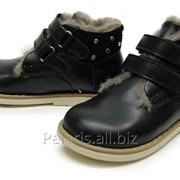 Черные низкие ботинки на цигейке, арт. 1922-220116 фото