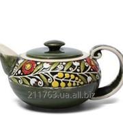 Керамический чайник ручной работы в украинском стиле фото
