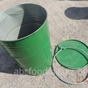 Бочки металлические 200 л, б/у, со съёмной крышкой и хомутом, из-под пищевых продуктов фото