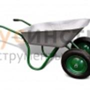 Тележка садовая 2-хколесная, пневмо, оцинк. корыто, 85л/80кг фото
