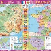 France. Фізична карта. Політико-адміністративна карта, м-б 1:1 500 000 (на планках) фото